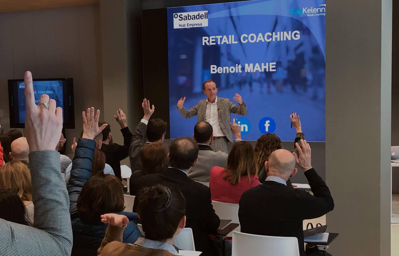 Benoit Mahé lors d'une conférence pour les entrepreneurs de la banque Sabadell
